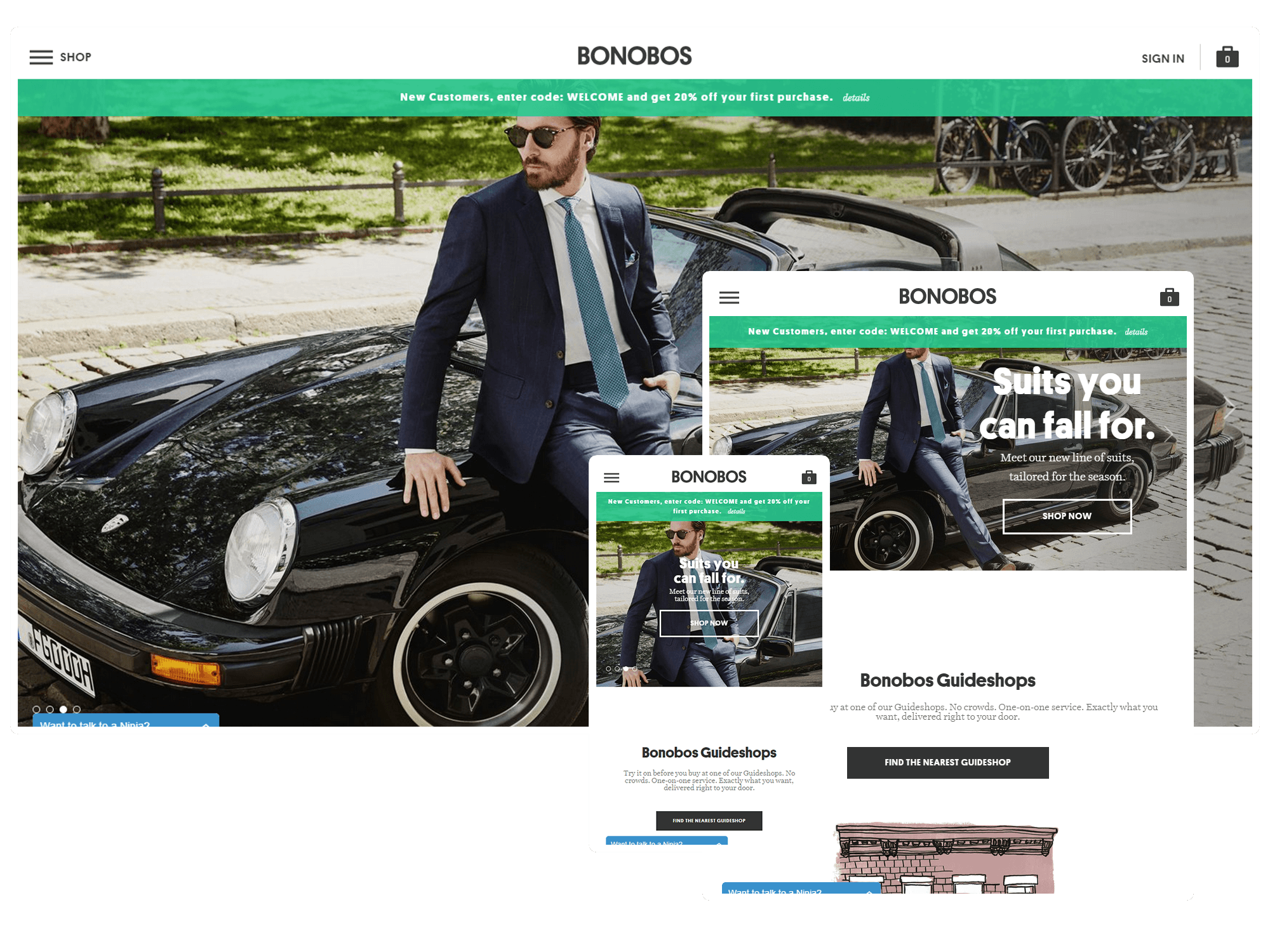 Another example of Responsive Website Design from Bonobos high fashion clothiers