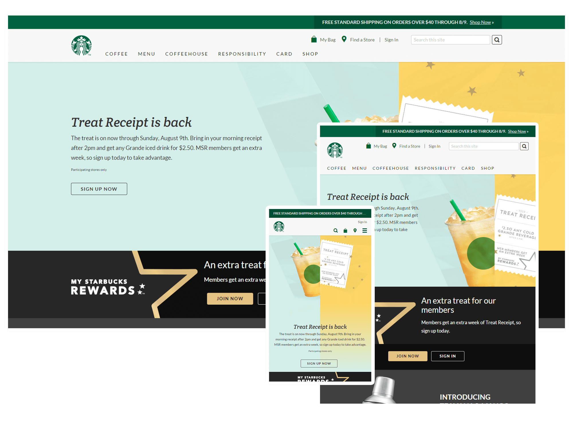 An example of Responsive Website Design from Starbucks coffee