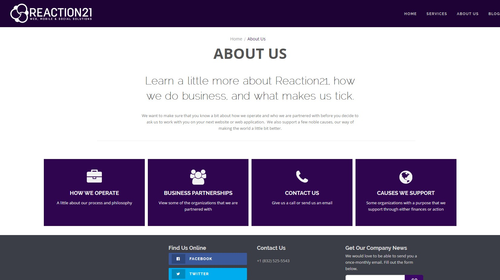 Reaction21 Website Landing Page Redesign